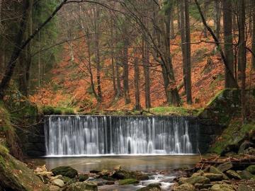 Waterfall Kwisa in Świeradów. - Waterfall Kwisa in Świeradów. Fallen autumn leaves can be seen.