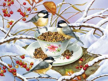 Bird feast. - Animals. Bird feast.
