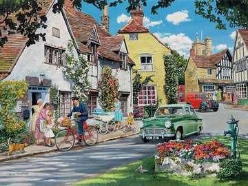 Une journée d'été dans une pet - Jour d'été dans une petite ville. Illustration