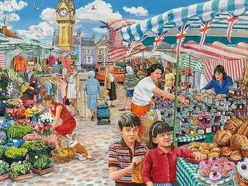 At the city bazaar - Illustration on the urban bazaar