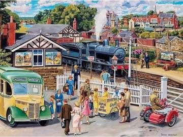 Dans une petite gare - L'illustration sur une petite gare