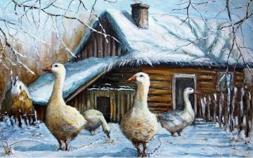 painting - Art. Landscape with geese.