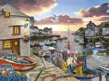port de la ville - Port en ville. Illustration