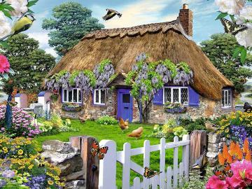 Wiosennie - Wiosennie , uroczy , wiejski domek z ogródkiem