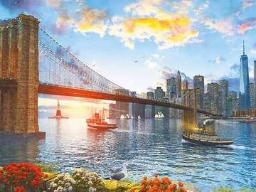 Brooklyn Bridge. - Landscape. New York. Brooklyn Bridge.