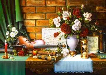 Music room, white roses in a vase - Building. Interior with violin. White roses.
