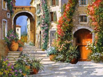 pittura - strada in fiori, pittura