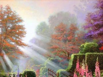 Poranek w ogrodzie . - Poranek w ogrodzie .