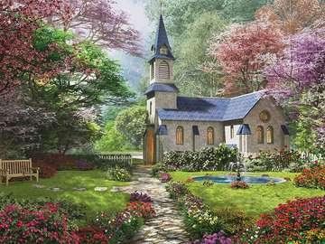Church in the garden. - Landscape. Church in the garden. Construction puzzle. Church. Church.