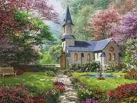 Kościół w ogrodzie. - Krajobraz. Kościół w ogrodzie. Budowlana układanka. Kościół. Kościół.