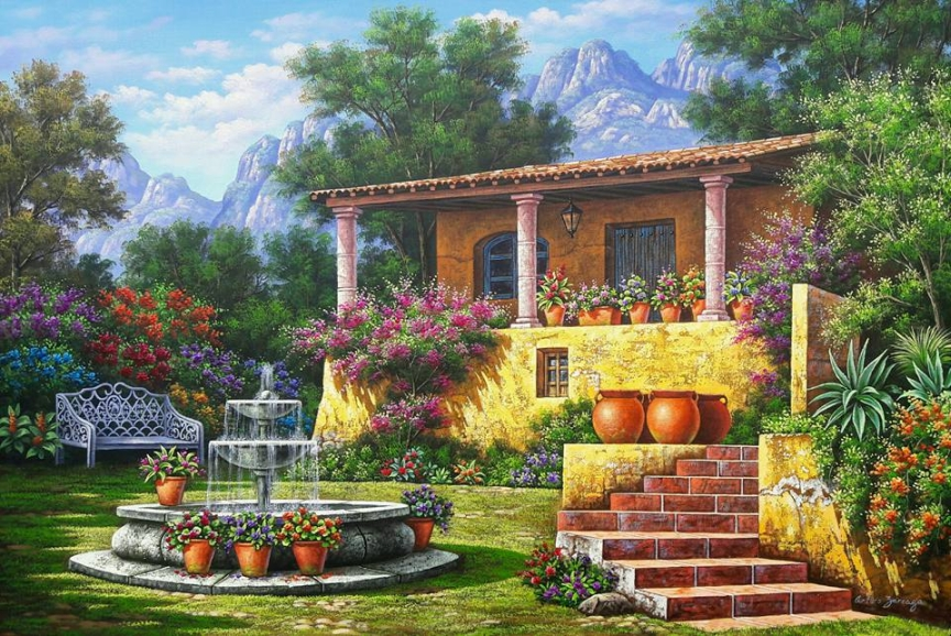 hacienda - fazenda nas montanhas, jardim, paisagem (11×9)
