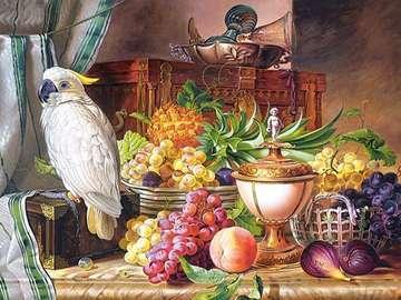 Stillleben mit einem Papagei. - Stillleben mit einem weißen Papagei.