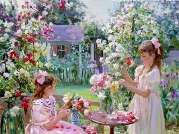 Peinture. - Enfants dans un jardin fleuri.