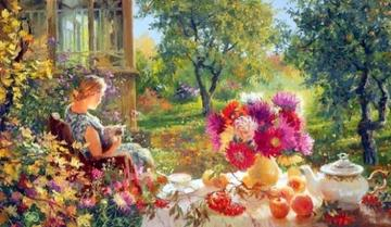 painting - A woman is resting in the garden, painting