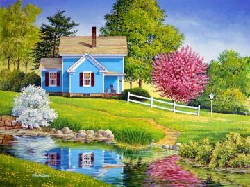 spring in the countryside - spring in the countryside, house, stream, trees