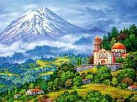 Volcanic mountain. - Landscape. Volcanic mountain.
