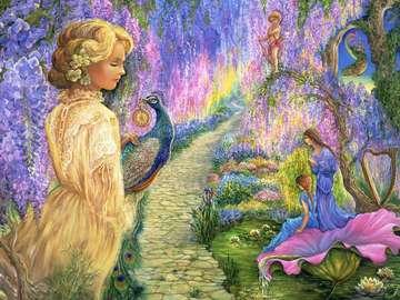 Josephine Wall. Wisteria. - Painting by Josephine Wall.