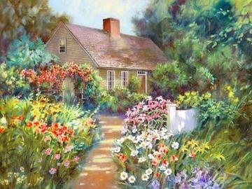 pittura - casa con giardino, estate, pittura