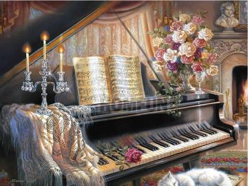Wnętrze z fortepianem. - Wnętrze z fortepianem.