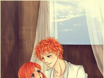 Anime Bleach - Orihime and Ichigo are a perfect love couple