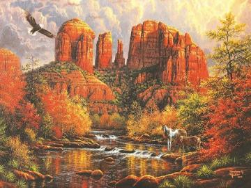 A majestic landscape. - A majestic landscape. Autumn trees. Autumn leaves. Colorful trees. Autumn leaves.