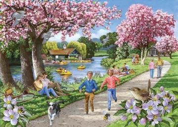 walk on the river - spring walk on the river, relax, flowering trees