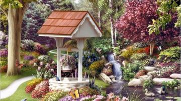 well in the garden - well in the garden, charming corner, flower beds, trees, cascade