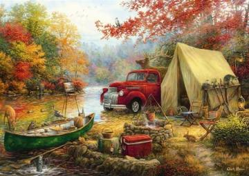 In the autumn on the camping. - Autumn in the woods on a camping.