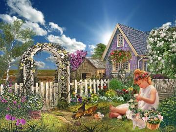 Dziecko w ogrodzie. - Dziewczynka w ogrodzie.