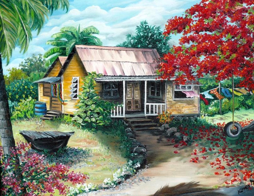 ζωγραφική - Ζωγραφική, σπίτι του χωριού κάτω από έναν φοίνικα (11×9)