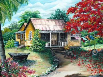 Painting - Painting, a rural house under a palm tree