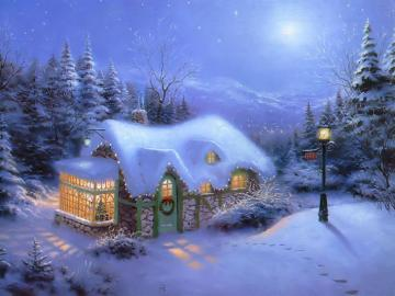 Christmas Cottage - Victorian Painting Winter and Christmas Scene Painting