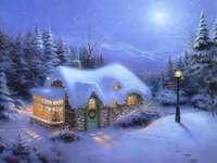 Świąteczna Chata - Wiktoriański obraz zimowy i świąteczne malowanie scen