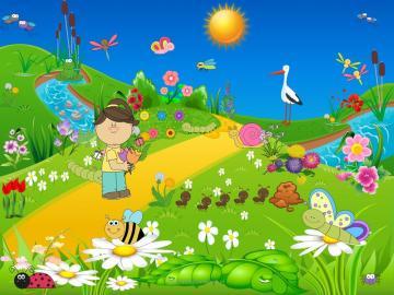 A ball on the meadow - A ball on the meadow. Kindergarten, spring. Frogs, storks, butterflies.