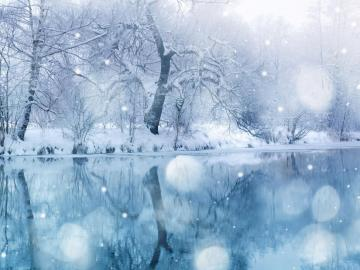 Χειμερινό τοπίο - Τοπίο. Ο καλυμμένος με πάγο ποταμός.