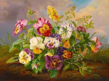 Bouquet of pansies. - Painting. Bouquet of pansies.