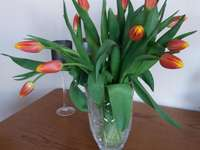 Tulips in a vase. - Tulips in a vase on the table.