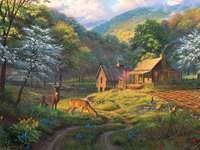Forester kunyhója a hegyekben.