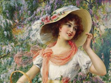 Malarstwo. - Kobieta w białym kapeluszu.