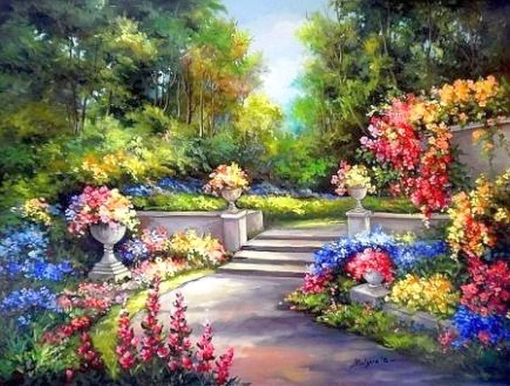 malarstwo - Malarstwo , ogród , kwitnące kwiaty , aleja , drzewa