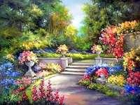 schilderij - Schilderen, tuin, bloeiende bloemen, steeg, bomen