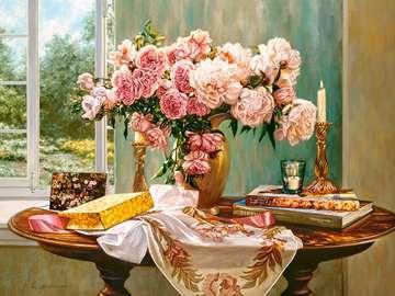 Bouquet de peonias. - Bouquet de peonias rosas.