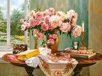 Bazsarózsa csokor. - Egy csokor rózsa. Egy csokor rózsaszín pünkösdi rózsa. Flowers. Nyári csokor rózsa.
