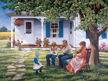rodzinne muzykowanie - rodzinne muzykowanie w ogrodzie