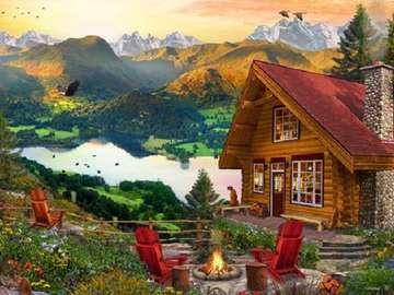 Ορεινό τοπίο. - Ορεινό τοπίο. Εξοχικό σπίτι δίπλα στη λίμνη.