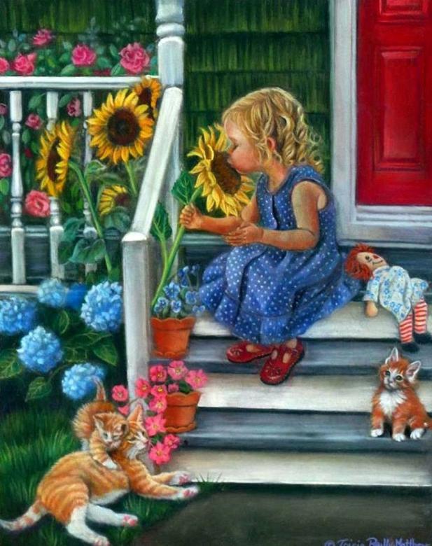 Bloemen voor het huis - Meisje. Flowers in front of the house. Puzzel voor kinderen. Puzzel (8×9)