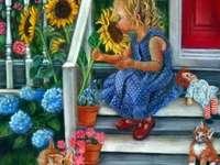 Virágok a ház előtt. - Girl. Flowers in front of the house. Kirakós játék gyerekeknek. Puzzle.