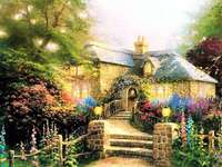 A painted house with a garden. - A painted house with a garden.