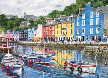 Port town - Port town, colorful houses on the waterfront, Tobermory
