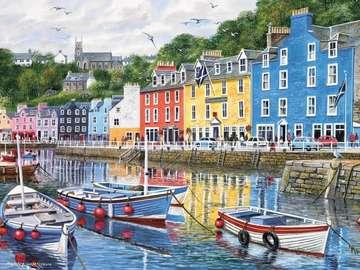 Portowe miasteczko - Portowe miasteczko , kolorowe domy na nabrzeżu , Tobermory